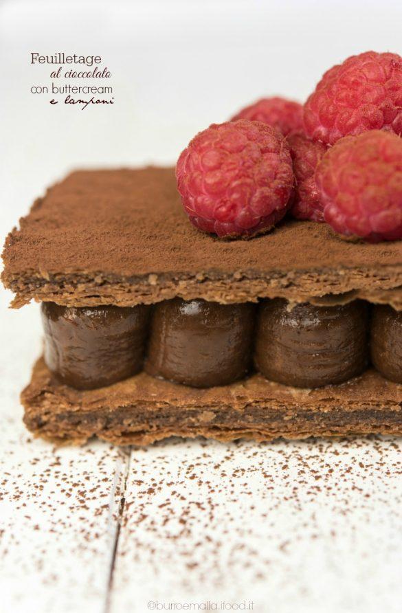 feuilletage al cioccolato con buttercream alla nutella e lamponi freschi