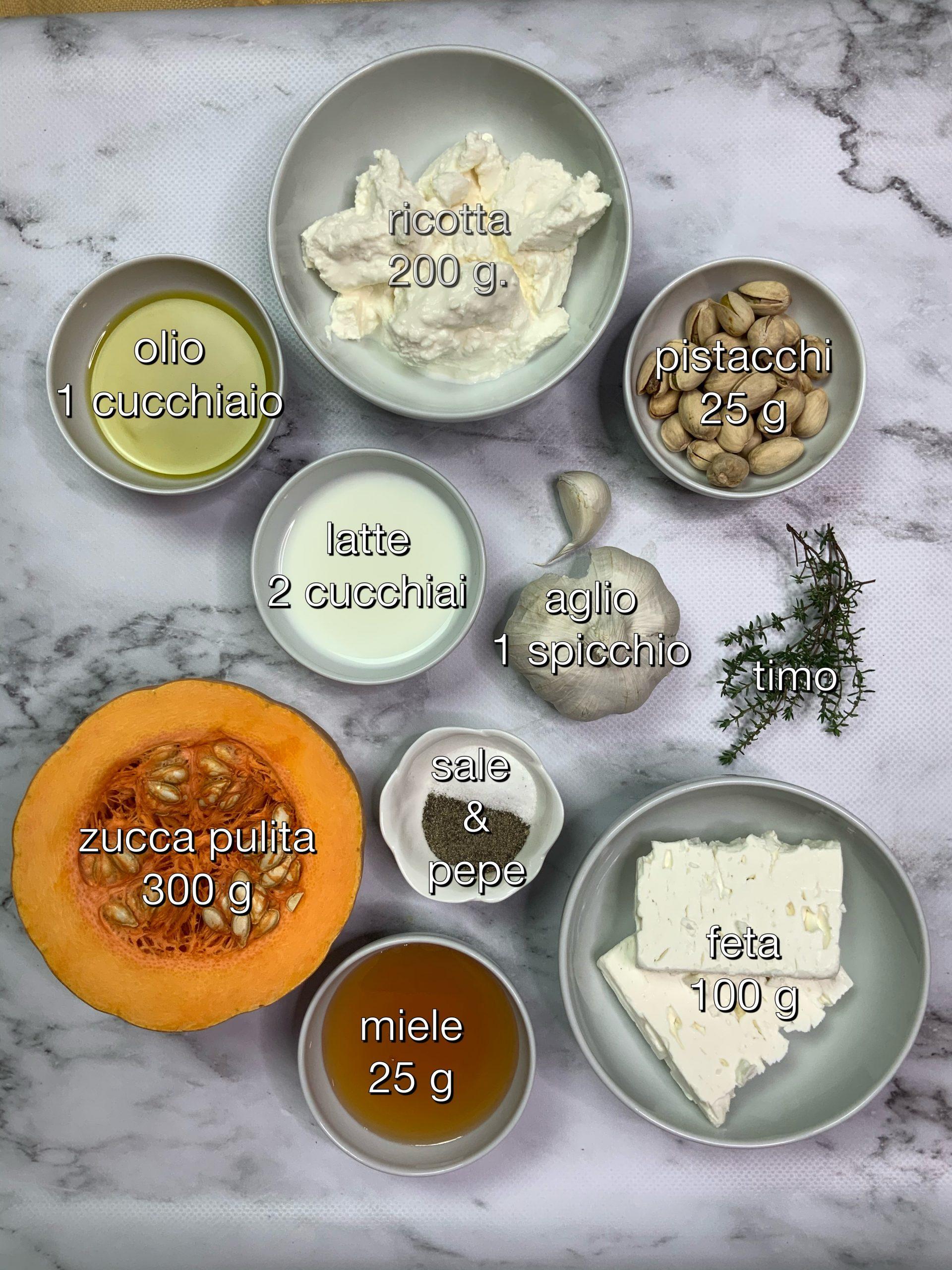 gli ingredienti con le dosi